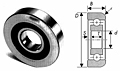 Mast guide bearing with cross sectional view